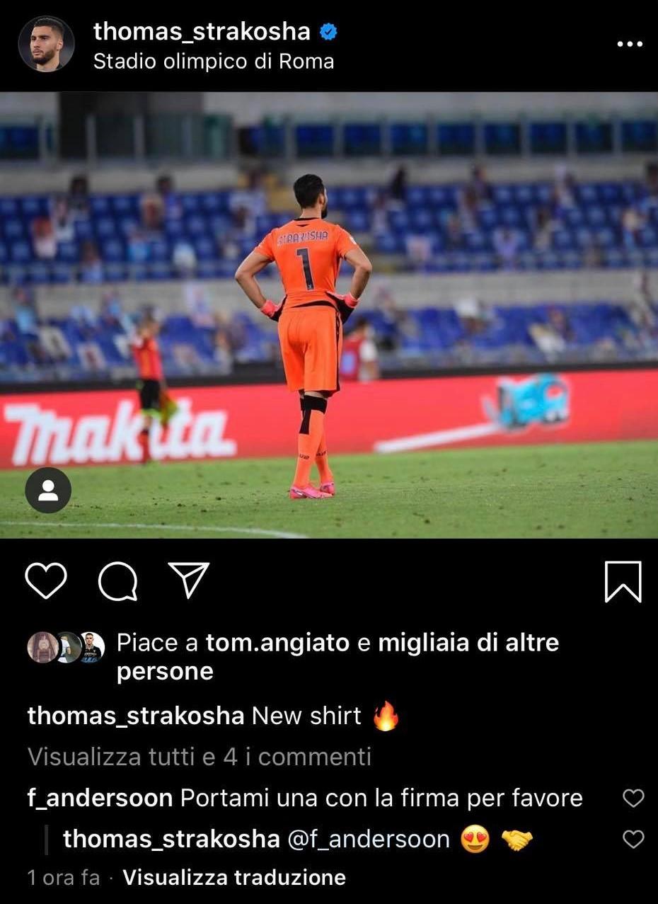 Lazio, Strakosha mostra la nuova maglia e Felipe Anderson chiede ...